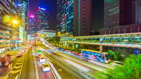 Hong kong night light high traffic street panorama 4k time lapse china stock video footage