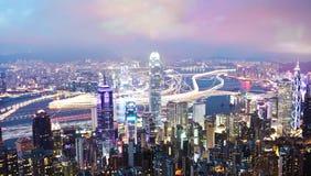 Hong Kong at night, long exposure Royalty Free Stock Photos