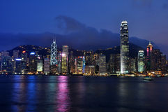 Hong Kong night scene. Night scene of Hong Kong Island, taken from TST Royalty Free Stock Image