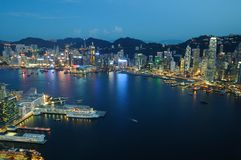 Hong Kong night scene aerial view stock images