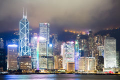 Hong Kong Night Scene Stock Photography