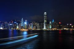 Hong Kong night scene - busy traffic. Night scene of Hong Kong Island, with busy traffic on victoria harbour Royalty Free Stock Photo