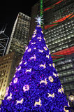 Hong Kong Night Scene with Christmas Tree Royalty Free Stock Images
