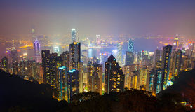 Hong Kong night scene from the peak 2 Stock Photo