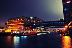 Hong Kong night scene - pier. Night scene of Hong Kong Island, the pier of turbojet to Macau Stock Photo