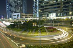 Hong Kong Night Scene with Traffic Light Royalty Free Stock Photos