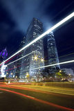 Hong Kong Night Scene with Traffic Light. In busy street Stock Images