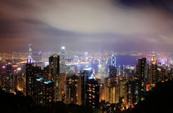 Hong Kong night scenes skyline at night Royalty Free Stock Photography