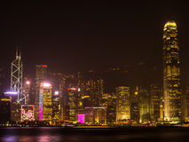 Hong Kong night. Shooting from Kowloon. Royalty Free Stock Photography