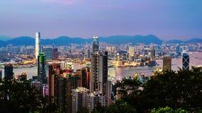 Hong Kong at night. Skyline of Hong Kong at sunset Royalty Free Stock Image