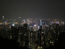 Hong kong 2018night; hong kong skyline royalty free stock photography