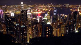 Hong Kong Night Skyline View from Victorias Peak Royalty Free Stock Photography
