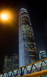 Hong Kong night  skyscraper ifc. Hong Kong night  skyscraper with  ifc and a big light Stock Image