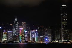 Hong Kong Night tid i central Arkivbilder