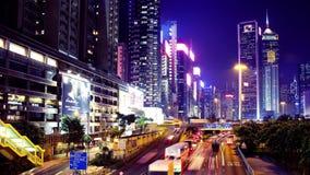 Hong Kong Night Timelapse. Vägbankfjärd. Sned bollskott. lager videofilmer