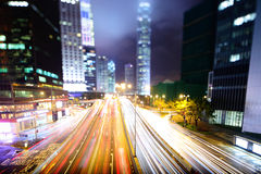 Hong Kong night traffic Royalty Free Stock Image