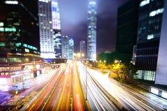 Hong Kong night traffic Royalty Free Stock Image