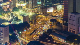 Hong Kong night traffic street construction rooftop panorama 4k time lapse china stock footage