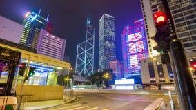 Hong Kong Night traffic street downtown panorama 4k time lapse china stock footage
