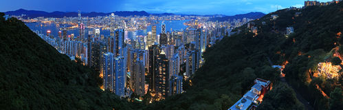 Hong Kong by night, from the Victoria Peak Royalty Free Stock Images