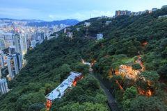 Hong Kong by night, from the Victoria Peak Royalty Free Stock Photo
