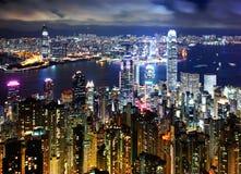 Hong Kong at night view Stock Images