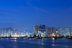 Hong Kong night view along the coast Stock Photography