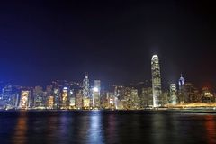 Hong Kong night view along Victoria Harbour Stock Image