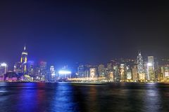Hong Kong night view along Victoria Harbour Royalty Free Stock Photography