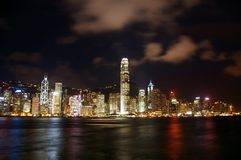 Hong Kong night view along Victoria Harbour Stock Photo