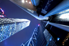 Hong Kong at night, view from below Royalty Free Stock Photos