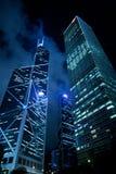 Hong Kong at night, view from below. Stock Image