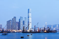 Hong Kong night view at cargo terminal Royalty Free Stock Images