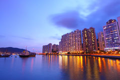 Hong Kong night view in downtown area Stock Photos