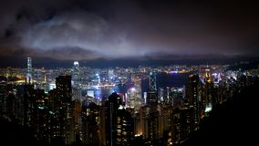 Hong kong night view. Hong kong island office buildings at night view from victoria peak Stock Image