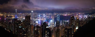 Hong kong night view. Hong kong island office buildings at night view from victoria peak Stock Photo