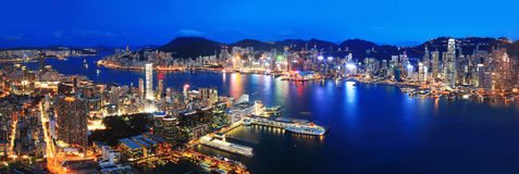 Hong Kong night view. In panorama