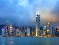 Hong Kong night view of Victoria Harbor Royalty Free Stock Photos