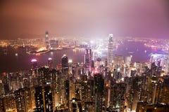 Hong Kong at night. View of the Victoria Harbour in Hong Kong at night Royalty Free Stock Image