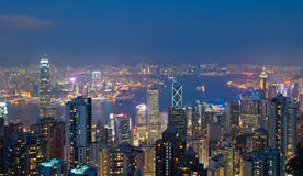 Hong Kong at night, view from Victoria Peak Royalty Free Stock Photos