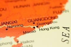 Hong Kong no mapa imagens de stock royalty free