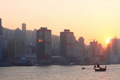 Hong Kong no por do sol Fotografia de Stock
