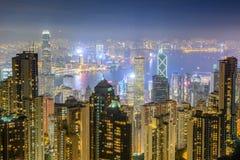 hong kong noc drapacz chmur okręgowy pierwszy bay finansowego Kowloon pików lata nad planem czasu Victoria szerszym wiewem świetl Zdjęcie Stock