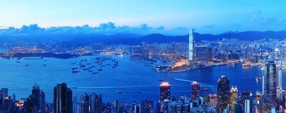 hong kong nocy linia horyzontu Obrazy Royalty Free