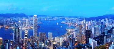 hong kong nocy linia horyzontu Zdjęcia Royalty Free