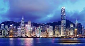 hong kong nocy linia horyzontu Obrazy Stock