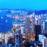 hong kong nocy linia horyzontu Zdjęcie Royalty Free