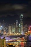 Hong Kong nocy widok od szczytu Obraz Royalty Free