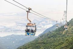 HONG KONG NONG PING December quinto 2014: cabina di funivia immagini stock
