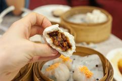 Cha Siu Bao barbequed pork bun at Hong Kong dim sum restaurant Royalty Free Stock Photo